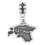 STERLING SILVER TEXTURED MAP OF ESTONIA DANGLE BEAD CHARM