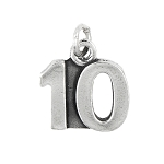 Sterling Silver Number 10 Ten years Charm