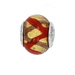 Authentic Zable Yellow and Red Murano Glass Bead Charm