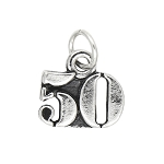 Sterling Silver Number Year 50 Charm