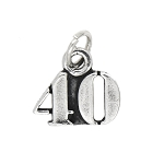 Sterling Silver Number 40 Years Forty Charm Pendant