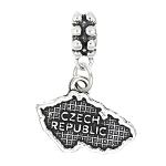 STERLING SILVER DANGLE Map of Czech Republic BEAD CHARM