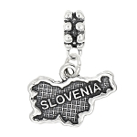 Sterling Silver Dangle Map of Slovenia Dangle Bead Charm