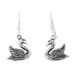 Sterling Silver Swan Earrings