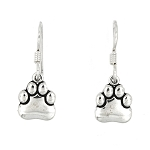 Sterling Silver Small Paw Earrings