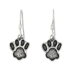 Sterling Silver Etched Paw Earrings