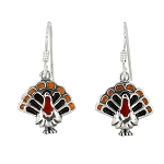 Sterling Silver Turkey Earrings