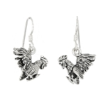 Sterling Silver fighting Cock Rooster Earrings