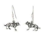 Sterling Silver American Wolf Earrings