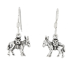 Sterling Silver Donkey Pack Mule Earrings