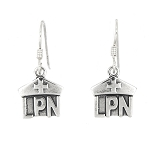 Sterling Silver LPN Nurse Hat Earrings