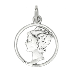 Sterling Silver One Sided Lady's Profile Charm