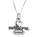 Sterling Silver Oxidized I Love Football Charm Necklace