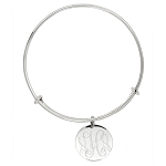 Sterling Silver Monogrammable Engravable Expandable Wire Bangle Bracelet