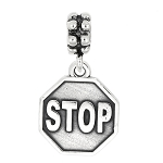Sterling Silver Dangle Stop Sign Bead Charm