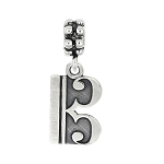 Sterling Silver Oxidized Alto Tenor Music Note Dangle Bead Charm