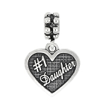 Sterling Silver Oxidized Textured #1 Daughter Dangle Bead Charm