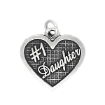 Sterling Silver Textured #1 Daughter Charm Pendant