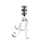 Sterling Silver Cursive Initial Letter Dangle Bead Charm
