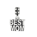 Sterling Silver Oxidized Best Mom Dangle Bead Charm
