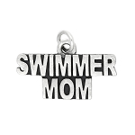 Sterling Silver Flat One Sided Swimmer Mom Charm (Style Options to Choose)