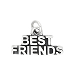 Sterling Silver Oxidized Word Best Friends Charm (with Options)