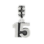 Sterling Silver Oxidized Sweet 15 Number 15 Quinceañera Dangle Bead Charm