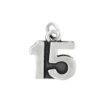 Sterling Silver Oxidized Sweet 15 Number 15 Charm Pendant