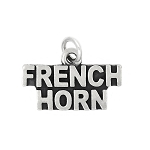 Sterling Silver Oxidized Musical Instrument French Horn Charm (with Options)
