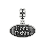 Sterling Silver Oxidized Gone Fishin' Dangle Bead Charm