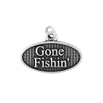 Sterling Silver Oxidized Gone Fishin' Charm Pendant