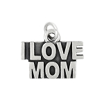 LGU® Sterling Silver Oxidized I Love Mom Charm (with Options)