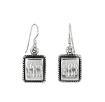 Sterling Silver Personalize Monogram Rectangular Shape Dangle Earrings