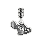 Sterling Silver Oxidized Travel Hawaii Island of Maui Dangle Bead Charm