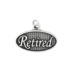 Sterling Silver Oxidized Oval Plate Retired Charm (with options)