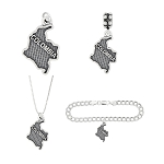 LGU® Sterling Silver Oxidized Travel Colombia Charm