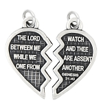 LGU® Sterling Silver Oxidized Heart Christian Mizpah Split Charm -with Options
