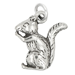 LGU® Sterling Silver Oxidized Medium Size Squirrel Charm (With Options)
