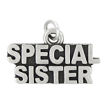 LGU® Sterling Silver Oxidized Special Sister Charm (With Options)
