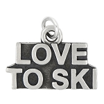 LGU® Sterling Silver Oxidized Love to Ski Charm (With Options)