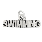 LGU® Sterling Silver Oxidized word Swimming Charm (With Options)