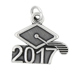 LGU® Sterling Silver Oxidized 2017 Graduation Cap Charm (With Options)