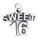 LGU® Sterling Silver Oxidized Sweet 16 Charm (With Options)