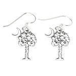 LGU® Sterling Silver Oxidized Palmetto Tree Crescent Moon South Carolina Symbol Earrings