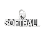LGU® Sterling Silver Oxidized Word Sport Softball Charm -with Options