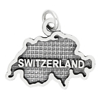 Sterling Silver Textured Country Map of Switzerland Charm (with Options)