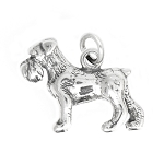 Sterling Silver Three Dimensional Schnauzer Dog Charm