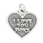 LGU® Sterling Silver Oxidized I Love You More Heart Charm (with Options)