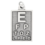 LGU® Sterling Silver Oxidized Optometrist Eye Doctor Eye Chart Charm (with Options)