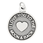 LGU® Sterling Silver Oxidized I Love You to the Moon and Back Charm (with Options)